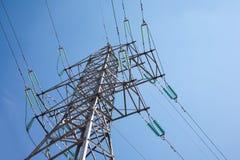 Power line. In deep blue sky royalty free stock photos