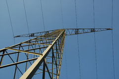 Power line. High voltage power line agains blue sky Royalty Free Stock Photography