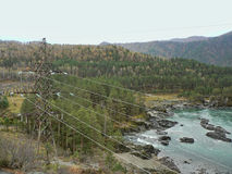 Power line above forest and river in the mountains Stock Photos