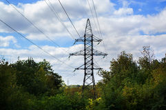 Power line against the blue sky. Power line against the blue bright sky Stock Photos