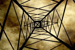 Power line. Against grunge background Royalty Free Stock Photos