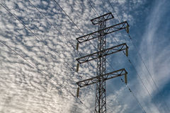 Power line. Against the sky and clouds Stock Images