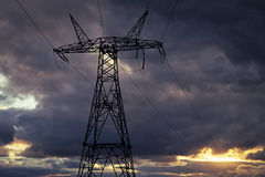 Power line against the stormy sky Royalty Free Stock Photo