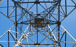 Power line below view. Power line construction below view Royalty Free Stock Photo