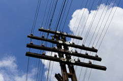 Power line blue sky Royalty Free Stock Photo