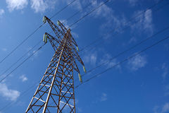 Power line and blue sky Royalty Free Stock Photo