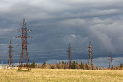 Power line circut in a field Royalty Free Stock Photo