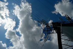 Power line and clouds timelapse stock video
