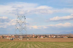 Power line construction Stock Photography