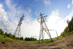 Power line in a contryside. Shooted with fisheye lens Stock Images