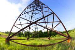 Power line in a contryside. Shooted with fisheye lens Royalty Free Stock Photos