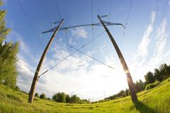 Power line in a contryside. Shooted with fisheye lens Stock Photos