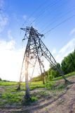 Power line in a contryside. Shooted with fisheye lens Royalty Free Stock Image
