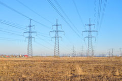 Power line in the countryside in the early spring. Stock Photo