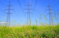 Power line in the countryside. Stock Photo