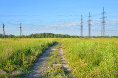 Power line in the countryside. Stock Photography