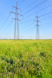 Power line in the countryside. Royalty Free Stock Photography
