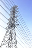 Power line electric tower. View of electric tower in city Stock Photo