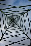 Power line. electric tower. trellis. vertical. metal support with trusses in aluminum royalty free stock images
