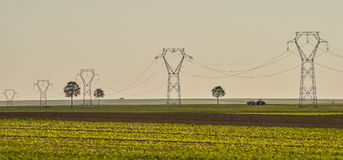 Power line, electricity pylons, Landscape Royalty Free Stock Photos