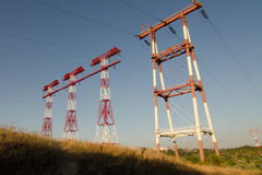 Power line. Electricity, power transmission towers, power, wire, power station, power system, power supply system Stock Photos