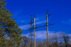 Power line elements royalty free stock photos