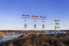 Power line, energy, urban infrastructure. Horizontal shot, topic - the urban landscape and infrastructure Royalty Free Stock Photo