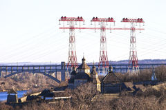 Power line, energy, urban infrastructure Stock Photo