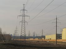 Power line in Moscow. stock image