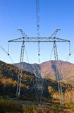 Power line going through the Sikhote-Alin Mountains. Royalty Free Stock Photo