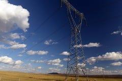 Power line in Grassland in inner mongolia. Electric power transport in inner mongolia stock photography