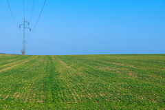Power line, green field with blue sky Stock Images