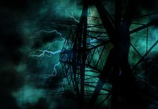 Power Line Grunge. With electricity Royalty Free Stock Photos