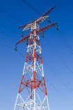 Power line high-voltage and blue sky Royalty Free Stock Photo