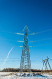 The power line. High voltage transmission line on the background of blue sky royalty free stock images