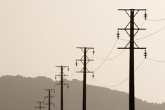 Power line landscape Royalty Free Stock Image
