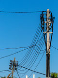 Power line on mallorca Royalty Free Stock Images