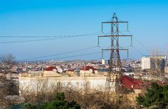 Power line mast Royalty Free Stock Images