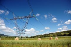 Power line on the meadow. Power line in southern Poland in sunny day royalty free stock photo