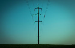 Power line in the night Stock Photo