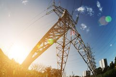 Power line perspective Stock Image