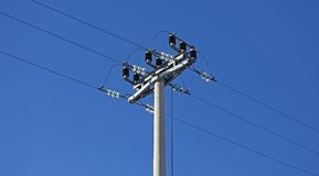 Power line pole high voltage and shunting switch Royalty Free Stock Image