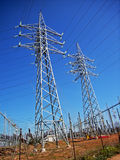 Power line poles. From an electrical substation in spain Royalty Free Stock Photography