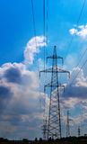 Power Line. pylon against a blue sky. Power Line. pylon against a blue sky Stock Image