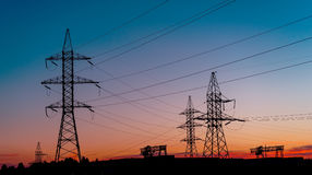 Power Line. pylon against a blue sky.  Royalty Free Stock Photography