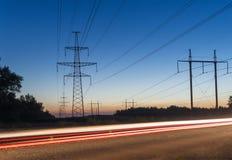 Power Line. pylon against a blue sky. Power Line. pylon against a blue sky Royalty Free Stock Photo