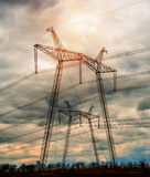 Power Line. pylon against a blue sky.  Stock Photo