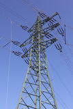 Power line pylon with electrical equipment Stock Photo
