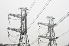 Power line pylons Royalty Free Stock Photos
