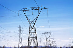 Power line pylons Royalty Free Stock Photography